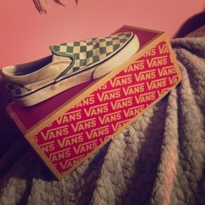 green and white checkered vans